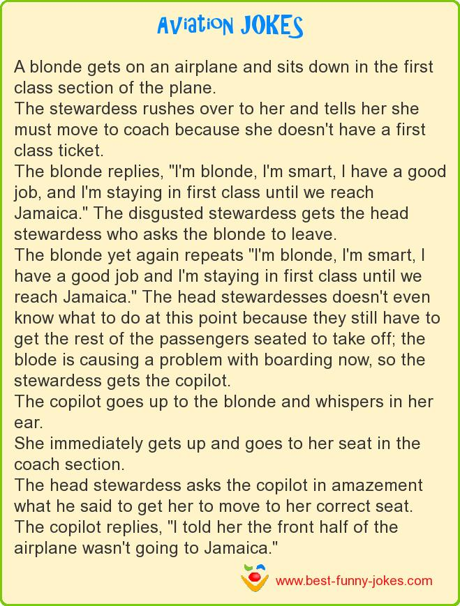 A blonde gets on an airplane a