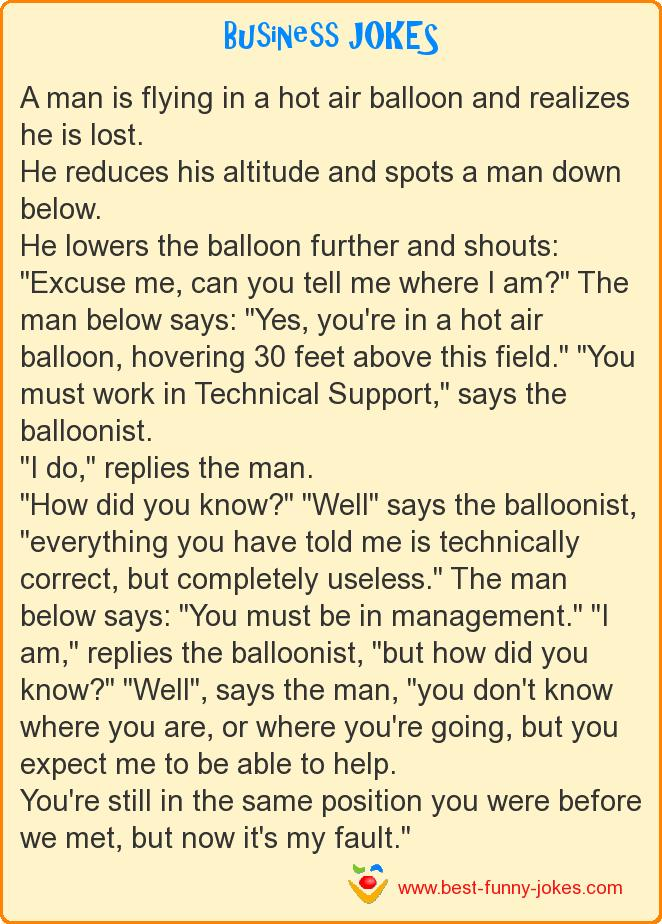 A man is flying in a hot air b