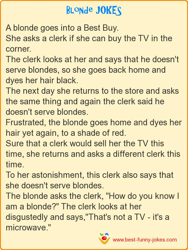 A blonde goes into a Best Buy.
