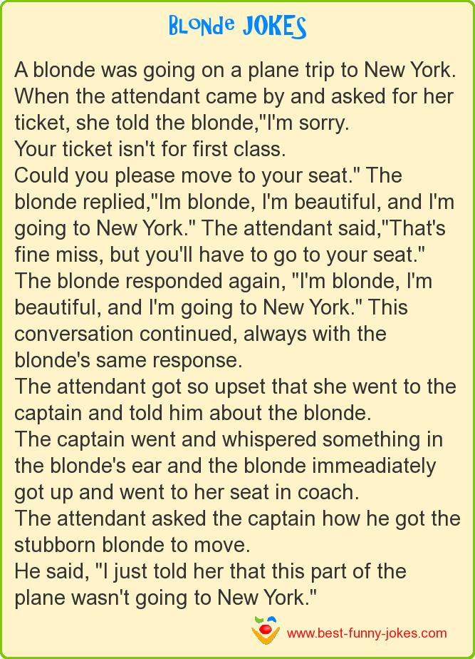 A blonde was going on a plane