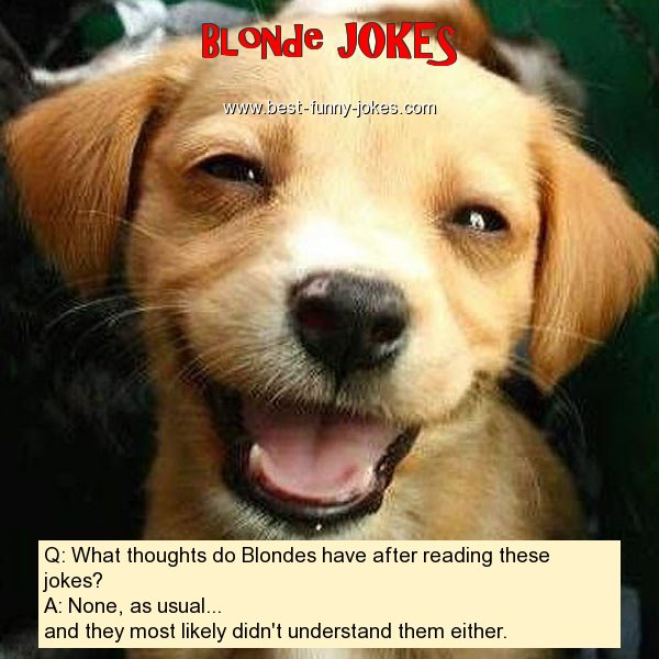 Blonde Jokes: Q: What thoughts d