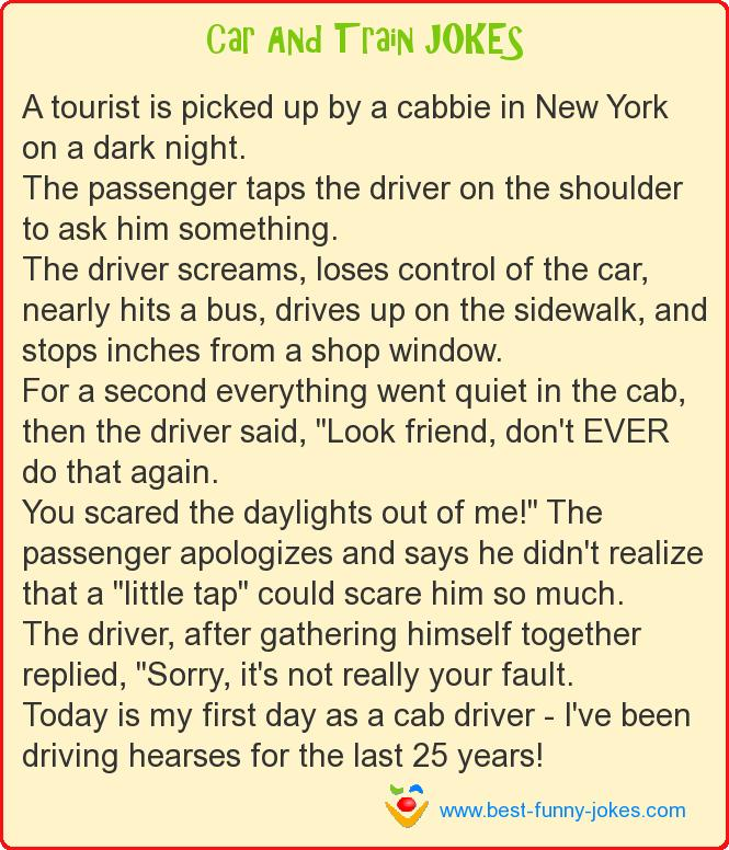 A tourist is picked up by a ca