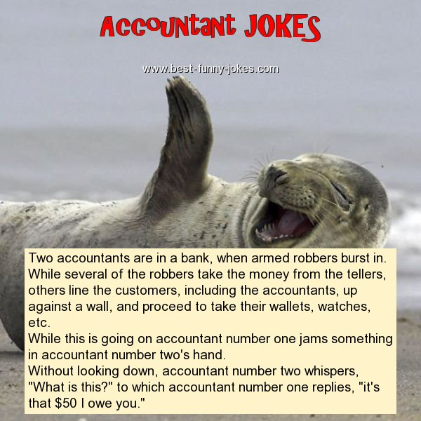 Two accountants are in a bank,
