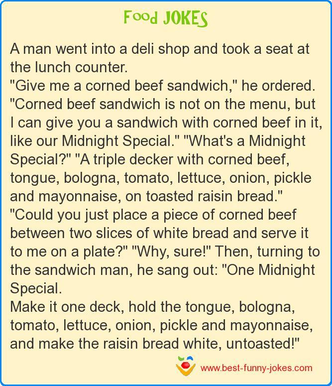 A man went into a deli shop