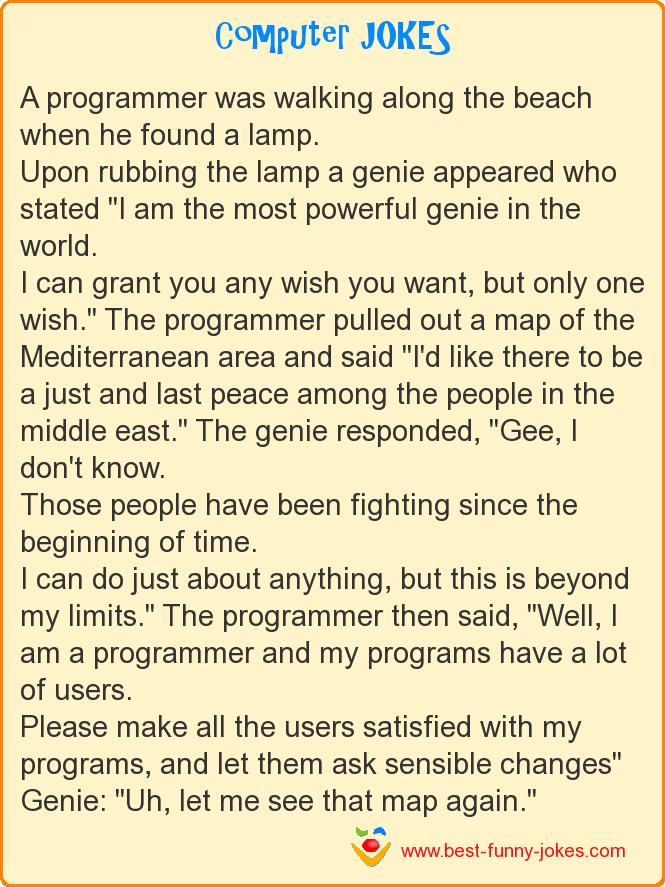A programmer was walking along