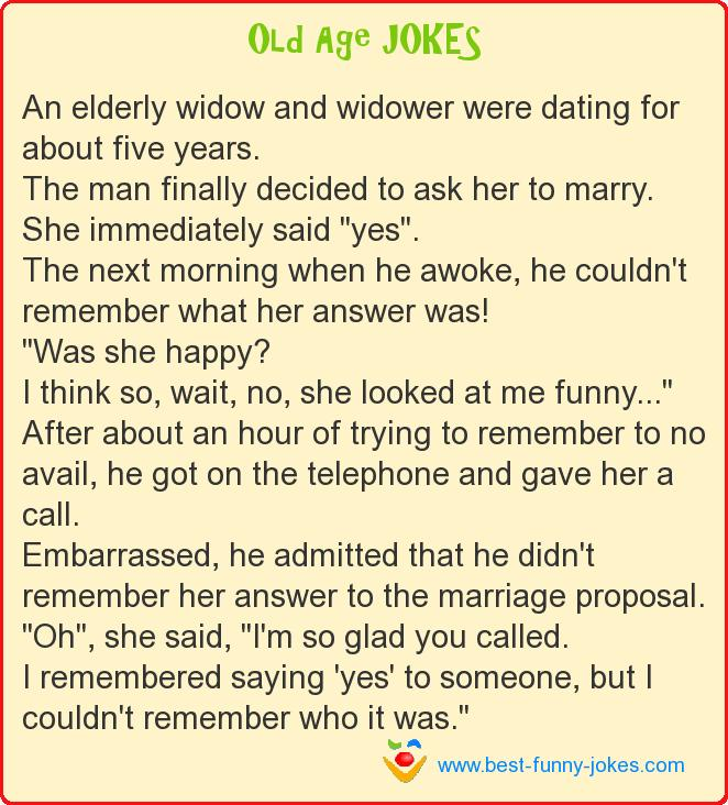 An elderly widow and widower