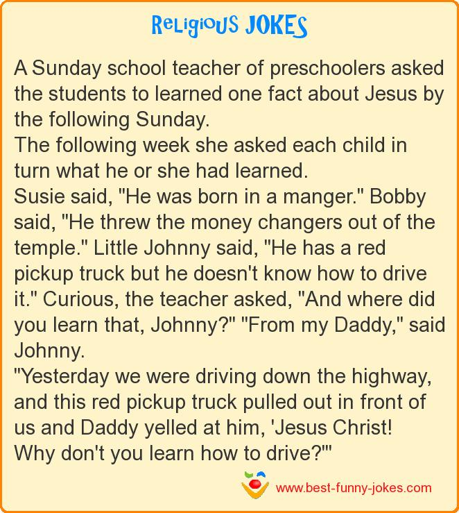A Sunday school teacher of pre
